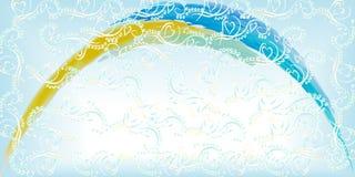 Bakgrund av försiktig blå karaktärsteckningguling och blått välva sig stock illustrationer