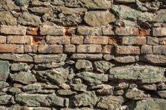 Bakgrund av fotoet för sten- och tegelstenväggtextur Arkivfoton