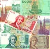 Bakgrund av gammala räkningar för Kroatienkunapengar Arkivbild