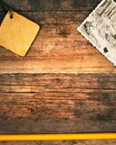 Bakgrund av gammala red ut plankor Royaltyfri Fotografi