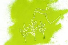 Bakgrund av grön pulveryttersida Royaltyfri Fotografi