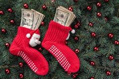 Bakgrund av granfilialer Jultomten röda strumpor med pengar klaus santa för frost för påsekortjul sky Top beskådar Xmas-lyckönska royaltyfri foto