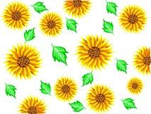 Bakgrund av gula solrosblommor med gröna sidor och bak en vit bakgrund i vektor royaltyfri illustrationer