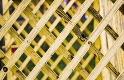 Bakgrund av gula träplankor diagonalt Arkivbild