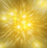 Bakgrund av guld- gudomligt ljus med kors och stjärnan Royaltyfri Bild