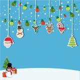 Bakgrund av hängande jul Arkivbild
