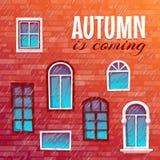 Bakgrund av hösten med byggnadsväggen också vektor för coreldrawillustration arkivfoton