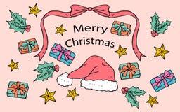 Bakgrund av hand drog julbeståndsdelar Royaltyfri Foto