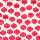 Bakgrund av kinesiska lyktor för papper för nytt år röda Sömlös modell för vektor som isoleras på vit bakgrund Arkivfoton