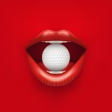 Bakgrund av kvinnas öppna mun med golfboll in Fotografering för Bildbyråer