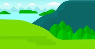 Bakgrund av landskapet med berg och sjön Fotografering för Bildbyråer