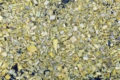 Bakgrund av målade gula wood chiper på jorden Arkivfoton