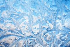 Bakgrund av målning på det djupfrysta fönstret vid frost - ingen Royaltyfria Foton