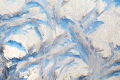 Bakgrund av målning på det djupfrysta fönstret vid frost - ingen Arkivbilder
