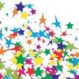 Bakgrund av mångfärgade konfettistjärnor Arkivfoton