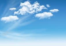 Bakgrund av molnig blå himmel Fotografering för Bildbyråer