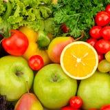 Bakgrund av naturliga nya frukt och grönsaker Arkivfoto