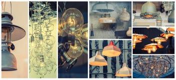 Bakgrund av olik stil av lampor Arkivfoto