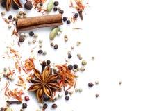 Bakgrund av olika kryddor Arkivfoton