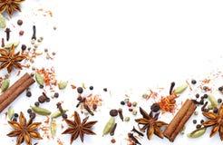 Bakgrund av olika kryddor Royaltyfri Bild