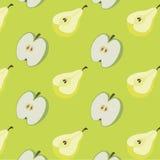 Bakgrund av päron och äpplen stock illustrationer