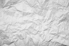 Bakgrund av pappers- skrynklig vit Arkivbilder