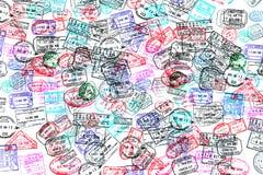Bakgrund av passstämplar Royaltyfri Fotografi