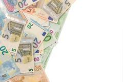 Bakgrund av pengar från eurosedlar ställe för kopieringsutrymme royaltyfri bild