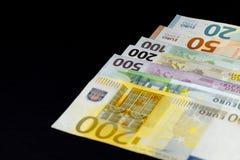 Bakgrund av pengarna Euro och dollar Fotografering för Bildbyråer