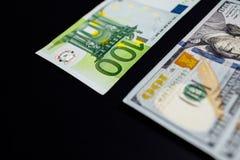 Bakgrund av pengarna Euro och dollar finansiellt begrepp royaltyfria foton