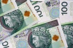Bakgrund av 100 PLN (den polska zlotyen) Arkivfoto