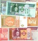 Bakgrund av räkningar för Mongoliet tugrikpengar Arkivfoton