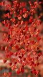 Bakgrund av röda hjärtor som flyger, collage Royaltyfria Foton