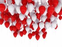 Bakgrund av röda och vitballonger Royaltyfria Bilder