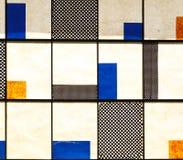 Bakgrund av rektanglar med olika färger och texturer Arkivfoto
