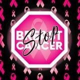 Bakgrund av rosa band också vektor för coreldrawillustration stämpel för fund för find för bröstcancerbotslagsmål post stock illustrationer