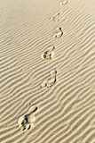 Bakgrund av sand skvalpar på stranden med tryck av fot Royaltyfri Foto