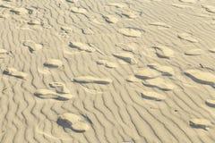 Bakgrund av sand skvalpar på stranden med tryck av fot Arkivfoton