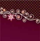 Bakgrund av smycken och ädelstenar med blomman Royaltyfria Foton