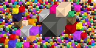 Bakgrund av stora och små kulöra fyrkanter i form av en rektangulär grafisk geometrisk volymetrisk mosaik royaltyfri illustrationer