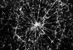 Bakgrund av svart brutet exponeringsglas i sprickor Fotografering för Bildbyråer