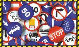 Bakgrund av trafiktecken Royaltyfria Foton