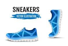 Bakgrund av två rinnande skor Blåa sportskor för att köra Krökta sportskor för blått för att köra royaltyfri illustrationer