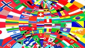 Bakgrund av världsflaggor Arkivbilder