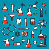 Bakgrund av vetenskapliga symboler med reflexion Royaltyfria Bilder