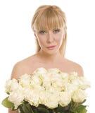 bakgrund blommar den vita kvinnan Royaltyfria Bilder