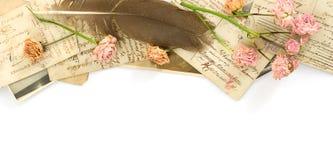 bakgrund blommar gammala vykort Arkivbild