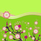 bakgrund blommar grön pink stock illustrationer