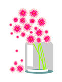 bakgrund blommar livstidsred skissar still vasevektoryellow Sammansättning med rosa blommor Royaltyfria Foton