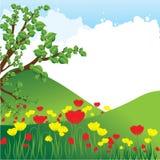 bakgrund blommar naturtreen Arkivbild